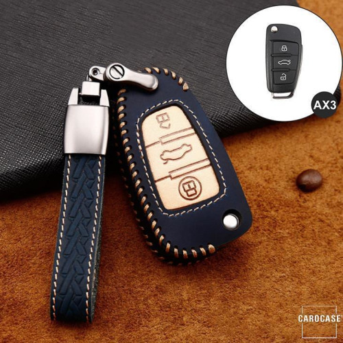 Premium Leather key fob cover case fit for Audi AX3 remote key blue