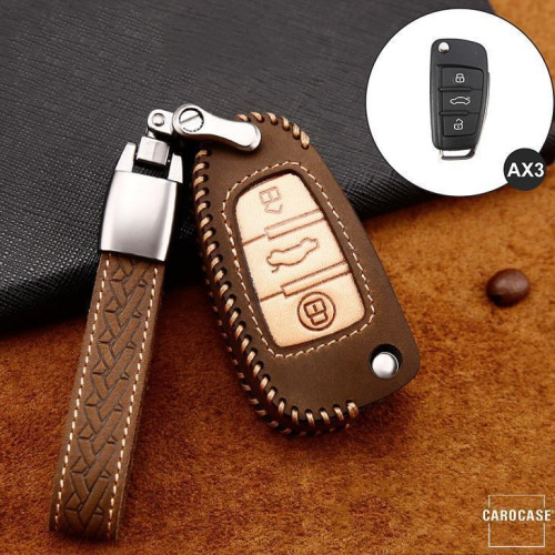 Premium Leather key fob cover case fit for Audi AX3 remote key brown