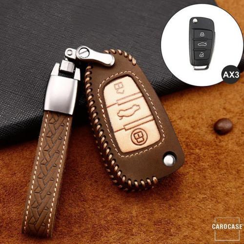 Premium Leder Cover passend für Audi Autoschlüssel inkl. Lederband und Karabiner braun LEK31-AX3-2