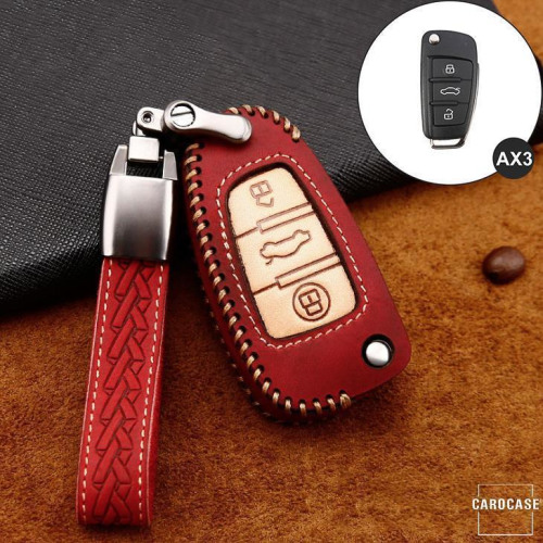 Premium Leder Cover passend für Audi Autoschlüssel inkl. Lederband und Karabiner rot LEK31-AX3-3