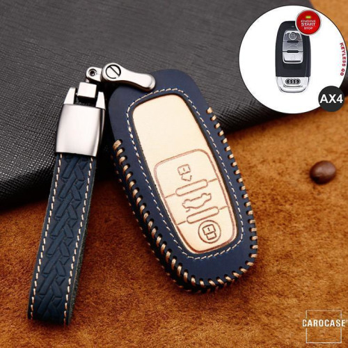 Premium Leder Cover passend für Audi Autoschlüssel inkl. Lederband und Karabiner blau LEK31-AX4-4