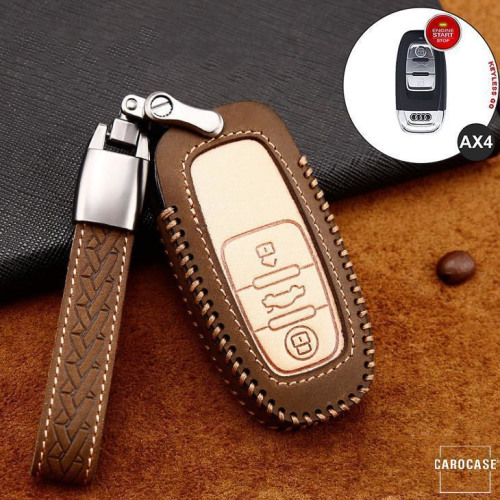 Premium Leather key fob cover case fit for Audi AX4 remote key brown