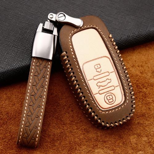Coque de protection en cuir de première qualité pour voiture Audi clé télécommande AX4 brun