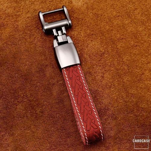 Premium Leder Cover passend für Audi Autoschlüssel inkl. Lederband und Karabiner rot LEK31-AX4-3