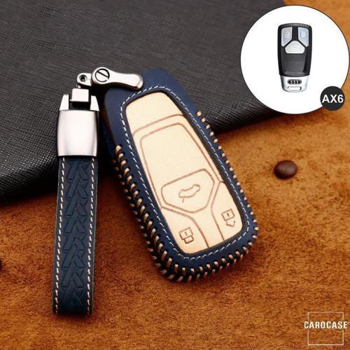 Coque de protection en cuir de première qualité pour voiture Audi clé télécommande AX6 bleu