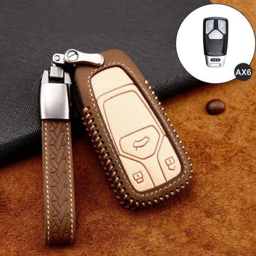 Coque de protection en cuir de première qualité pour voiture Audi clé télécommande AX6 brun