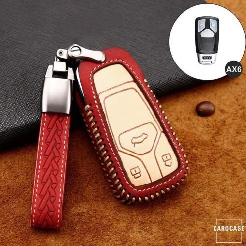 Coque de protection en cuir de première qualité pour voiture Audi clé télécommande AX6 rouge