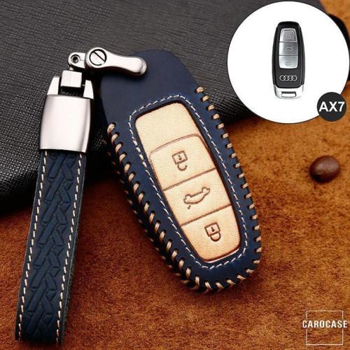 Coque de protection en cuir de première qualité pour voiture Audi clé télécommande AX7 bleu