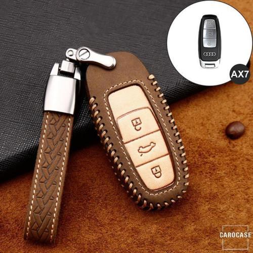Premium Leder Cover passend für Audi Autoschlüssel inkl. Lederband und Karabiner braun LEK31-AX7-2