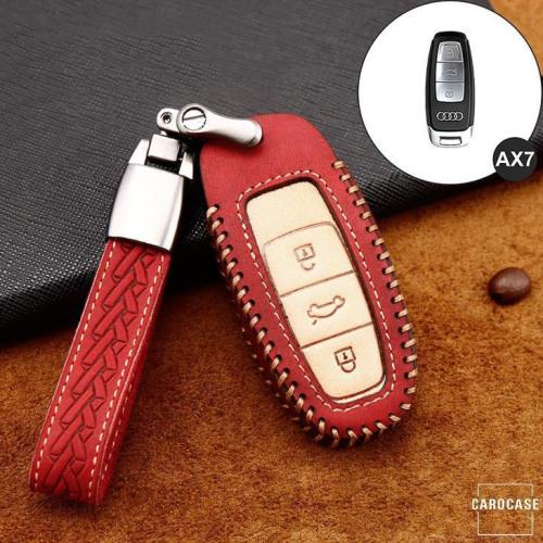Coque de protection en cuir de première qualité pour voiture Audi clé télécommande AX7 rouge