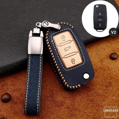 Premium Leder Cover passend für Volkswagen, Skoda, Seat Autoschlüssel inkl. Lederband und Karabiner blau LEK31-V2-4