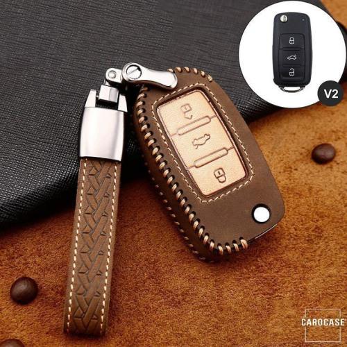 Cuero de primera calidad funda para llave de Volkswagen, Skoda, Seat V2 marrón