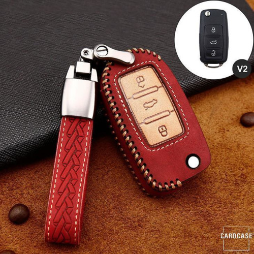 Premium Leather key fob cover case fit for Volkswagen, Skoda, Seat V2 remote key red