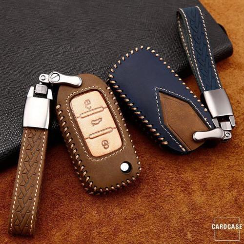 Premium Leder Cover passend für Volkswagen, Skoda, Seat Autoschlüssel inkl. Lederband und Karabiner  LEK31-V2X