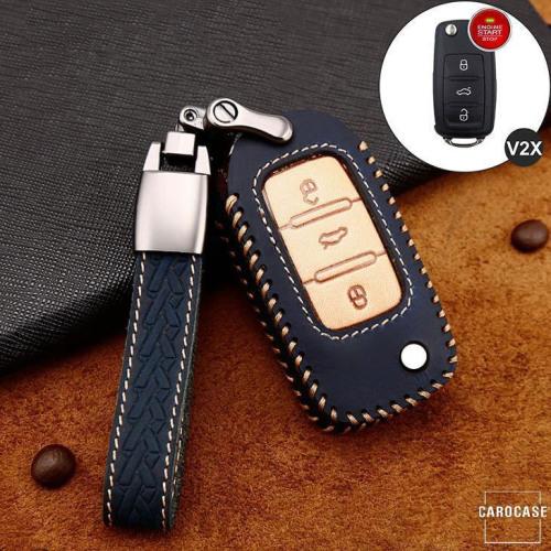 Premium Leder Cover passend für Volkswagen, Skoda, Seat Autoschlüssel inkl. Lederband und Karabiner blau LEK31-V2X-4