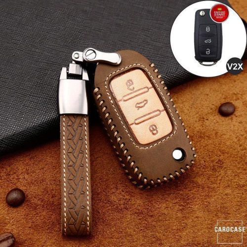Premium Leder Cover passend für Volkswagen, Skoda, Seat Autoschlüssel inkl. Lederband und Karabiner braun LEK31-V2X-2