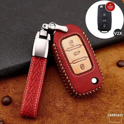 Premium Leder Cover passend für Volkswagen, Skoda, Seat Autoschlüssel inkl. Lederband und Karabiner rot LEK31-V2X-3