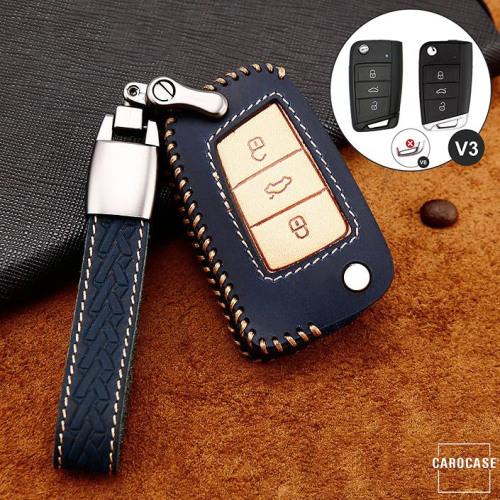 Coque de protection en cuir de première qualité pour voiture Volkswagen, Skoda, Seat clé télécommande V3 bleu
