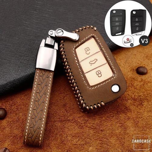 Premium Leder Cover passend für Volkswagen, Skoda, Seat Autoschlüssel inkl. Lederband und Karabiner braun LEK31-V3-2