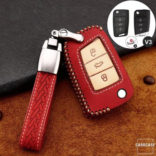 Premium Leder Cover passend für Volkswagen, Skoda, Seat Autoschlüssel inkl. Lederband und Karabiner rot LEK31-V3-3