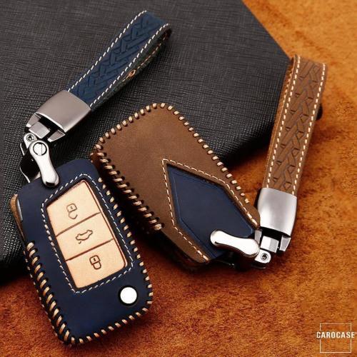 Premium Leather key fob cover case fit for Volkswagen, Skoda, Seat V3X remote key