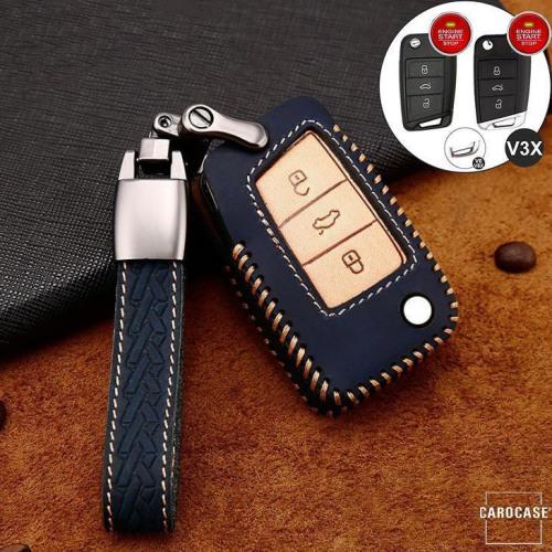 Premium Leder Cover passend für Volkswagen, Skoda, Seat Autoschlüssel inkl. Lederband und Karabiner blau LEK31-V3X-4