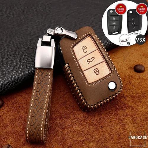 Premium Leder Cover passend für Volkswagen, Skoda, Seat Autoschlüssel inkl. Lederband und Karabiner braun LEK31-V3X-2