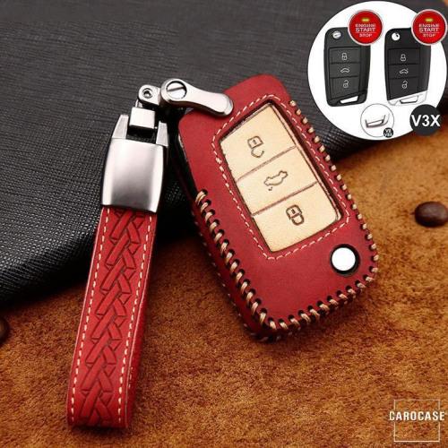 Premium Leder Cover passend für Volkswagen, Skoda, Seat Autoschlüssel inkl. Lederband und Karabiner rot LEK31-V3X-3
