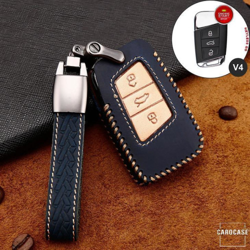 Premium Leder Cover passend für Volkswagen, Skoda, Seat Autoschlüssel inkl. Lederband und Karabiner blau LEK31-V4-4