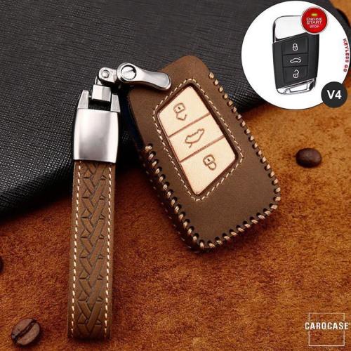 Cuero de primera calidad funda para llave de Volkswagen, Skoda, Seat V4 marrón