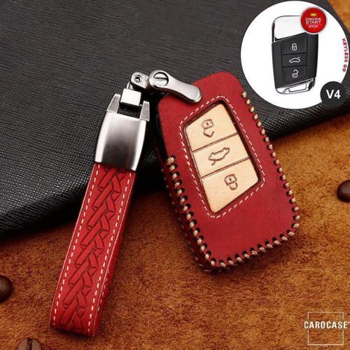 Premium Leder Cover passend für Volkswagen, Skoda, Seat Autoschlüssel inkl. Lederband und Karabiner rot LEK31-V4-3