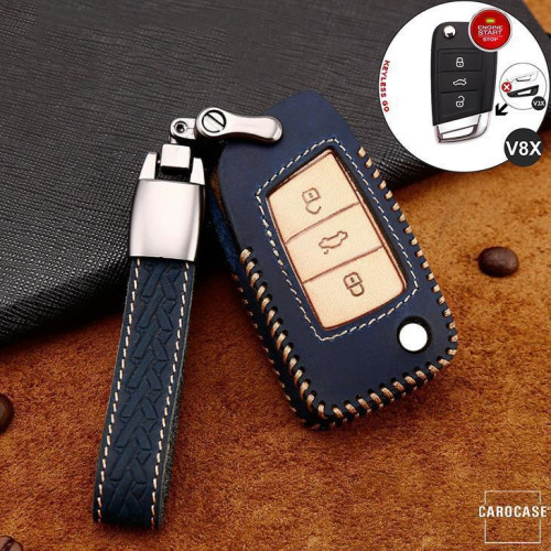 Premium Leder Cover passend für Volkswagen, Skoda, Seat Autoschlüssel inkl. Lederband und Karabiner blau LEK31-V8X-4