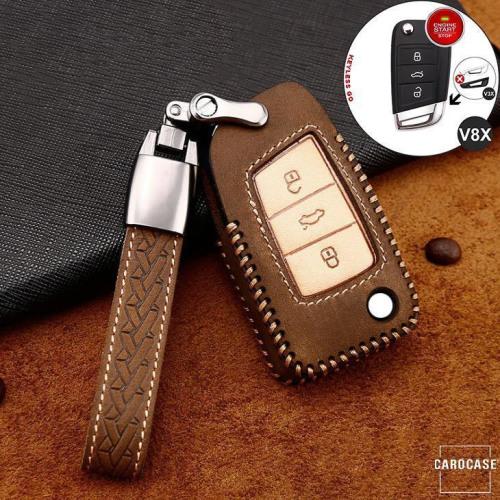 Cuero de primera calidad funda para llave de Volkswagen, Skoda, Seat V8X marrón