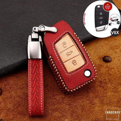 Premium Leather key fob cover case fit for Volkswagen, Skoda, Seat V8X remote key red