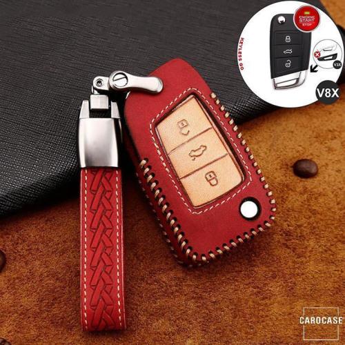 Cuero de primera calidad funda para llave de Volkswagen, Skoda, Seat V8X rojo