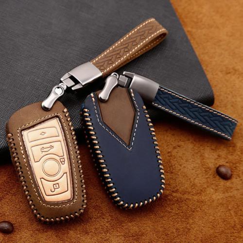Premium Leder Cover passend für BMW Autoschlüssel inkl. Lederband und Karabiner  LEK31-B5