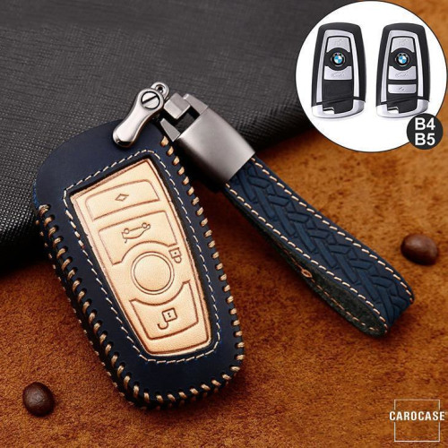 Premium Leather key fob cover case fit for BMW B4, B5 remote key blue