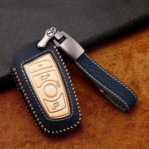 Cover Guscio / Copri-chiave Pelle premium compatibile con BMW B4, B5 blu