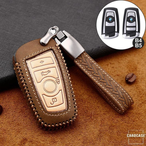 Coque de protection en cuir de première qualité pour voiture BMW clé télécommande B4, B5 brun