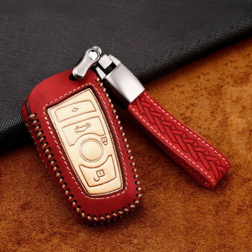 Premium Leder Cover passend für BMW Autoschlüssel inkl. Lederband und Karabiner rot LEK31-B5-3