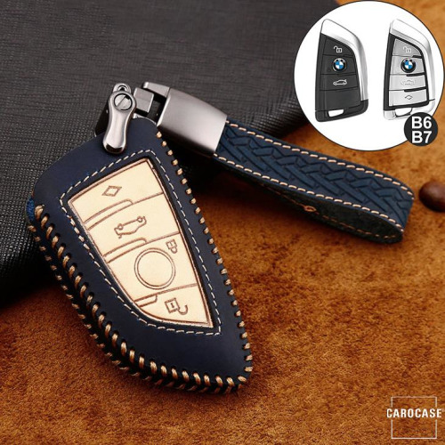 Coque de protection en cuir de première qualité pour voiture BMW clé télécommande B6, B7 bleu