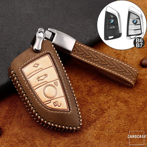 Premium Leather key fob cover case fit for BMW B6, B7 remote key brown