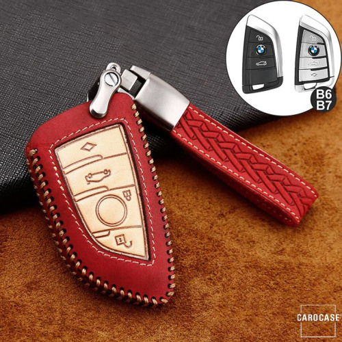 Premium Leather key fob cover case fit for BMW B6, B7 remote key red