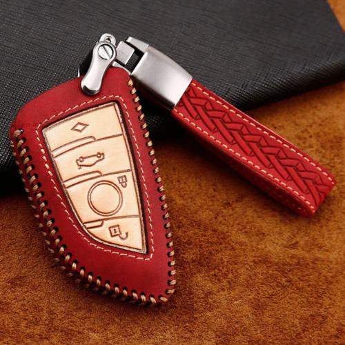 Premium Leder Cover passend für BMW Autoschlüssel inkl. Lederband und Karabiner rot LEK31-B7-3