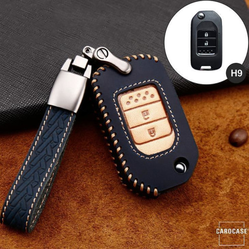 Premium Leder Cover passend für Honda Autoschlüssel inkl. Lederband und Karabiner  LEK31-H9