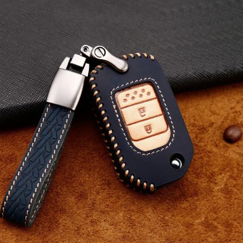 Premium Leder Cover passend für Honda Autoschlüssel inkl. Lederband und Karabiner blau LEK31-H9-4