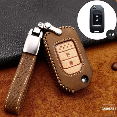 Premium Leather key fob cover case fit for Honda H9 remote key brown