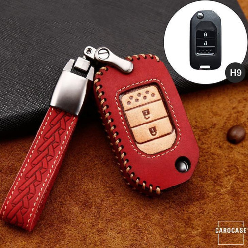 Premium Leather key fob cover case fit for Honda H9 remote key red