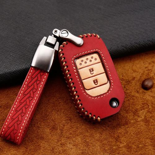Coque de protection en cuir de première qualité pour voiture Honda clé télécommande H9 rouge