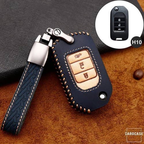 Premium Leather key fob cover case fit for Honda H10 remote key blue